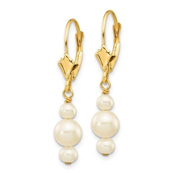 14K 3-3.5mm & 5-5.5mm Semi-Round FWC Pearl Leverback Dangle Earrings