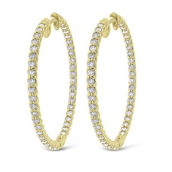 Diamond Inside Outside Rope Hoop Earrings in 14k Yellow Gold with 86 Diamonds weighing 1.23ct tw.