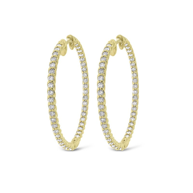 MAZZARESE Fashion Diamond Inside Outside Rope Hoop Earrings in 14k Yellow Gold with 86 Diamonds weighing 1.23ct tw.