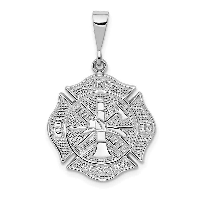 Quality Gold 14k White Gold FIRE RESCUE Pendant