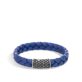 Legends Naga 12MM Station Bracelet in Silver and Leather