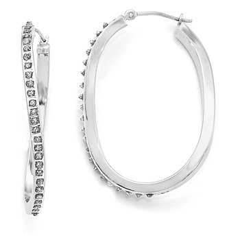 14k White Gold Diamond Fascination Oval Twist Hinged Hoop Earrings