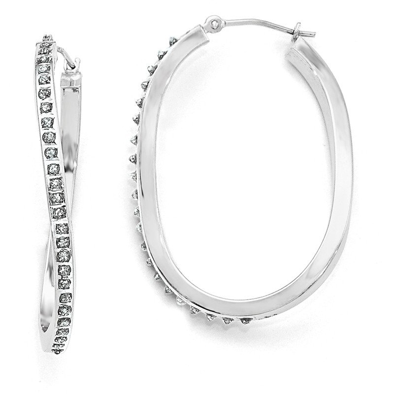 Arizona Diamond Center Collection 14k White Gold Diamond Fascination Oval Twist Hinged Hoop Earrings