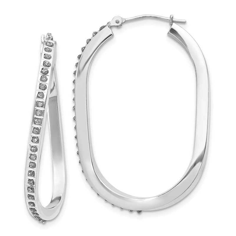 Quality Gold 14k White Gold Diamond Fascination Oval Twist Hinged Hoop Earrings