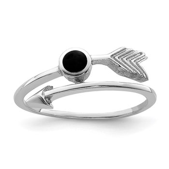 Sterling Silver Rhodium-plated Black Onyx Arrow Ring