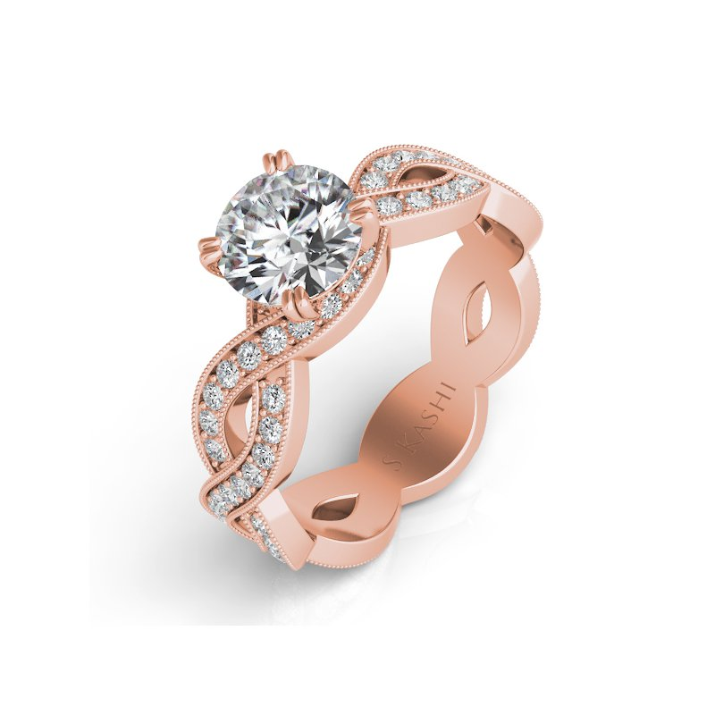 S. Kashi & Sons Bridal Rose Gold Pave Engagement Ring
