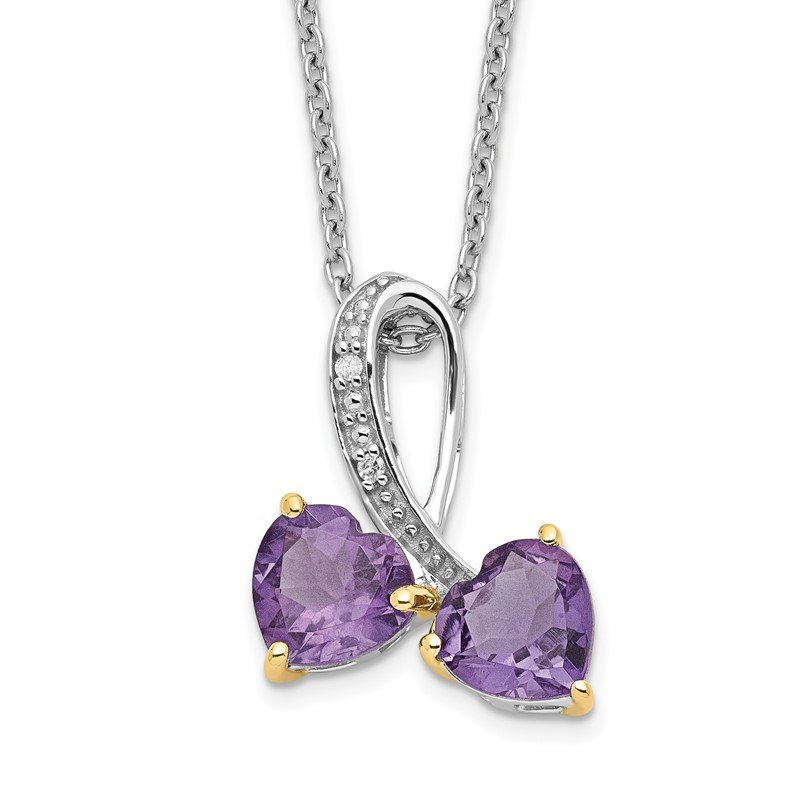 Arizona Diamond Center Collection SS and 14k Accent Rhodium-plated Amethyst and Diamond Heart 18inch Necklace