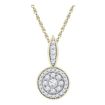 10kt Yellow Gold Womens Round Diamond Cluster Pendant 1/3 Cttw