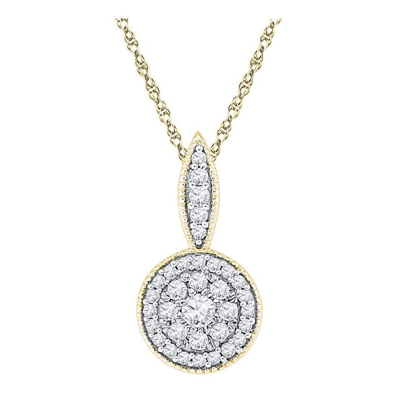 Kingdom Treasures 10kt Yellow Gold Womens Round Diamond Cluster Pendant 1/3 Cttw