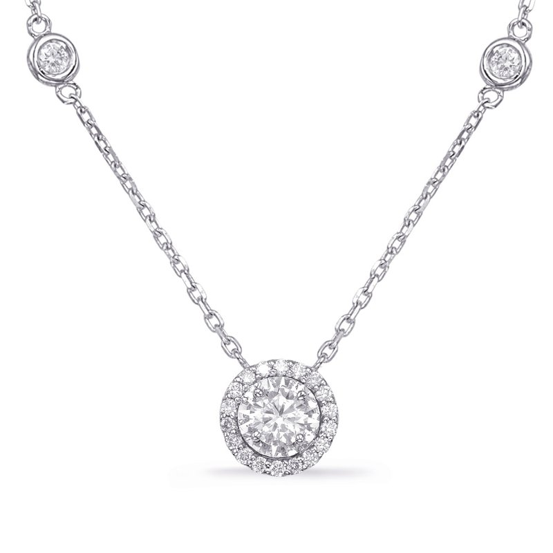 S. Kashi  & Sons White Gold Halo Diamond By The Yard Neck