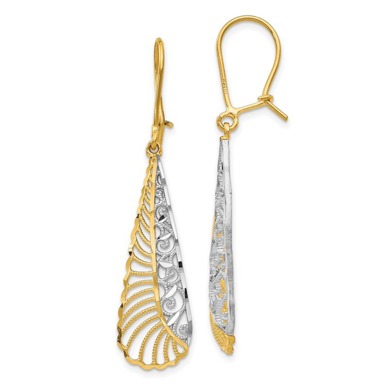 Quality Gold 14k & Rhodium-plated Dangle Kidney Back Earrings