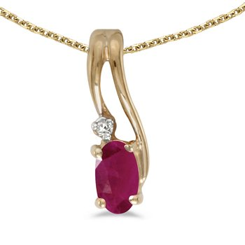 14k Yellow Gold Oval Ruby And Diamond Wave Pendant