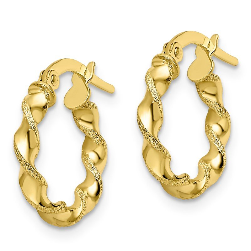 Leslie's Leslie's 10K Polished & Textured Twisted Hinged Hoop Earrings