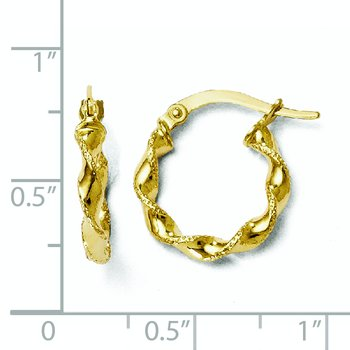 Leslie's 10K Polished & Textured Twisted Hinged Hoop Earrings