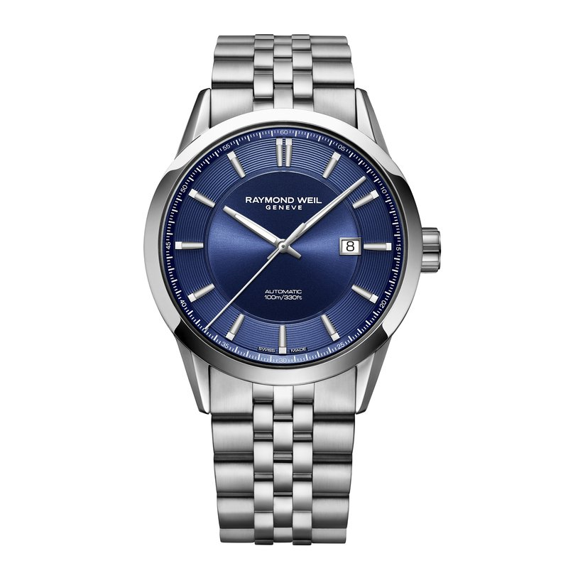 Raymond Weil Men's Automatic Date Watch, 42mm, stainless steel, blue dial, silver indexes