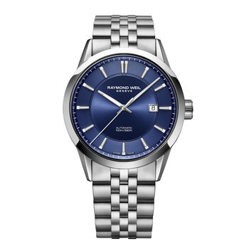 Men's Automatic Date Watch, 42mm, stainless steel, blue dial, silver indexes