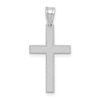 14k White Gold Florentine Satin Latin Cross Pendant