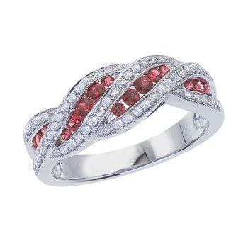 14k White Gold Ruby and .27 ct Diamond Fashion Ring