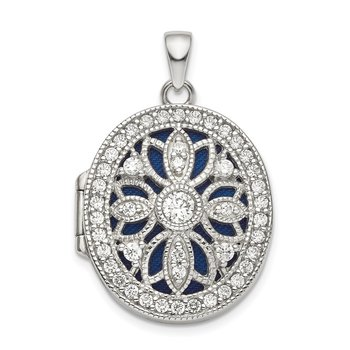 Sterling Silver Rhodium-plated Fancy CZ Oval Locket