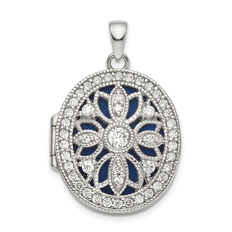 Quality Gold Sterling Silver Rhodium-plated Fancy CZ Oval Locket