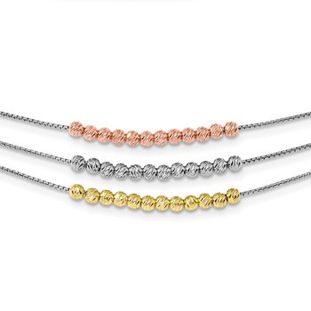 Sterling Silver Rhod-plated Diamond-cut Gold/Rose-tone 3 Strand Necklace