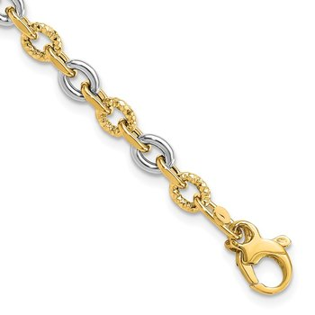 14K Two-tone Polished & Diamond Cut Bracelet