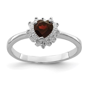Sterling Silver Rhodium-plated Garnet & CZ Heart Ring