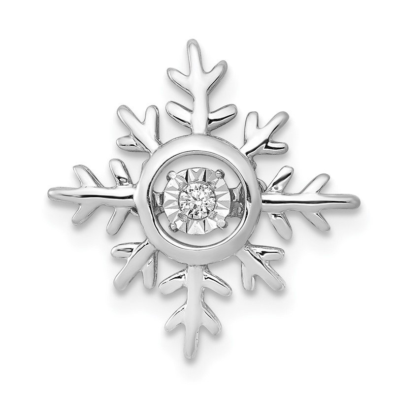 JC Sipe Essentials 14k White Gold Vibrant Moving Diamond Snowflake Chain Slide