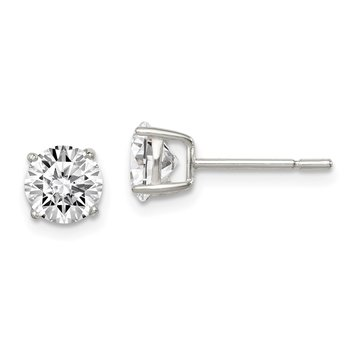 Sterling Silver Polished 6mm CZ Post Earrings