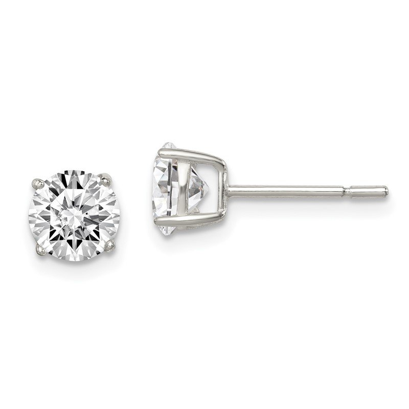 Quality Gold Sterling Silver Polished 6mm CZ Post Earrings