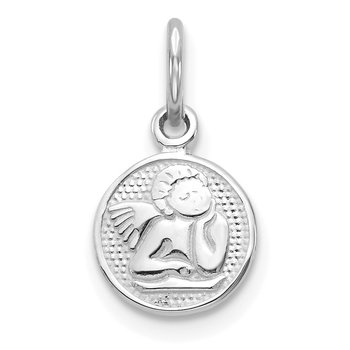 10k White Gold Angel Charm