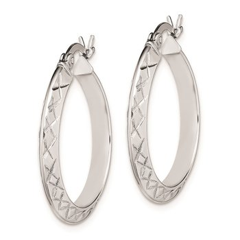 Sterling Silver Rhodium Plated Diamond Cut 3x25mm Hoop Earrings