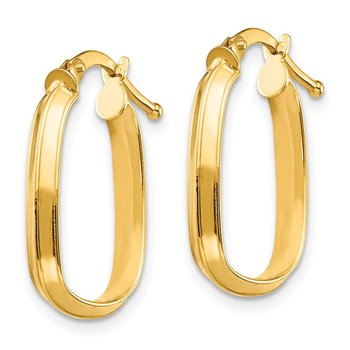 14K Small 3x2mm Oval Hoop Earrings