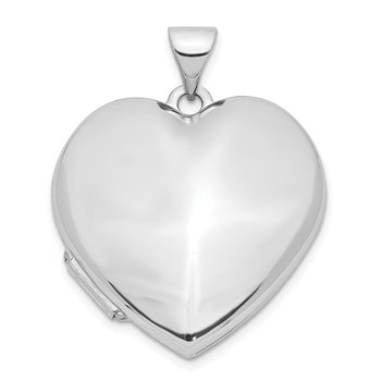 14k White Gold Polished Heart-Shaped Domed Locket