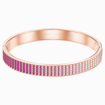 Luxury Bangle, Pink, Rose-gold tone plated