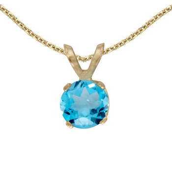 14k Yellow Gold Round Blue Topaz Pendant