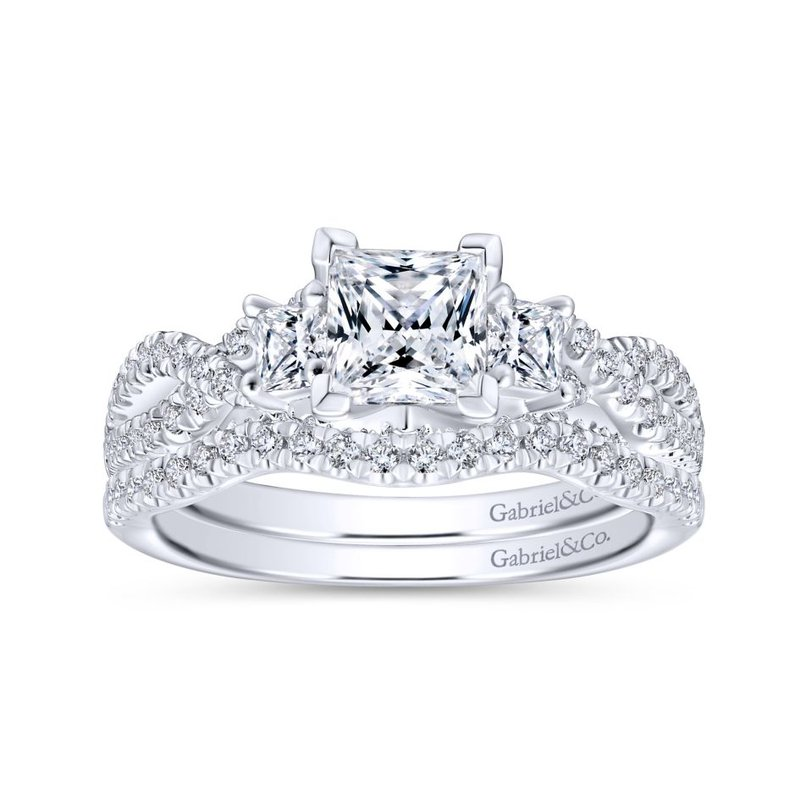 Gabriel & Co. - Bridal 14K White Gold Princess Cut Diamond Engagement Ring