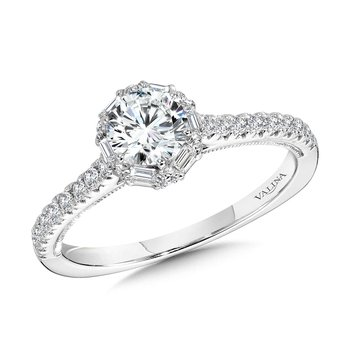 Six-Prong Milgrain-Beaded Baguette Halo Engagement Ring