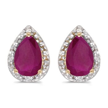 10k Yellow Gold Pear Ruby And Diamond Earrings