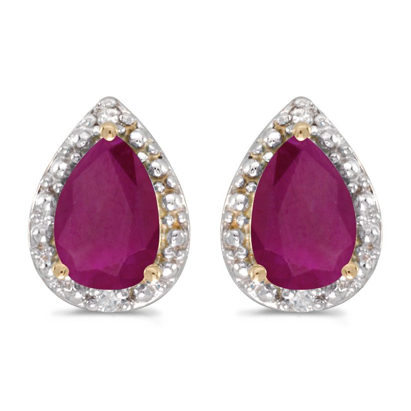 Color Merchants 10k Yellow Gold Pear Ruby And Diamond Earrings