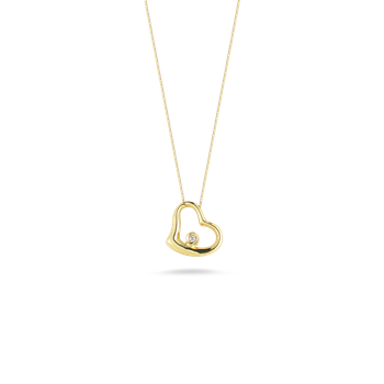 18KT GOLD SMALL SLANTED HEART PENDANT WITH DIAMOND