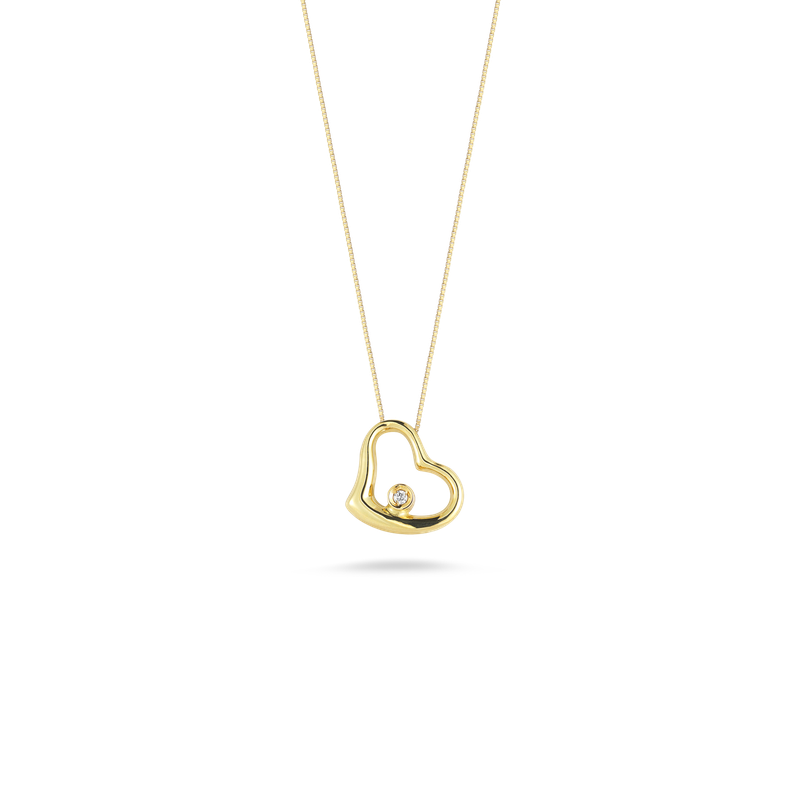 Roberto Coin 18Kt Gold Small Slanted Heart Pendant With Diamond