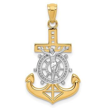 14k w/Rhodium Polished Mariners Crucifix Pendant