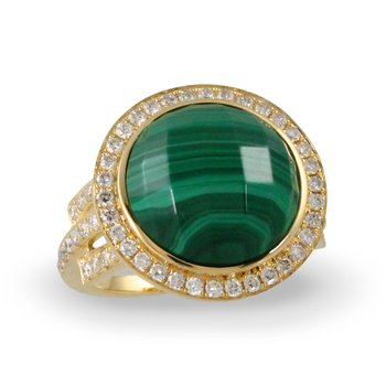 Verde Round Halo Diamond Ring 18KY