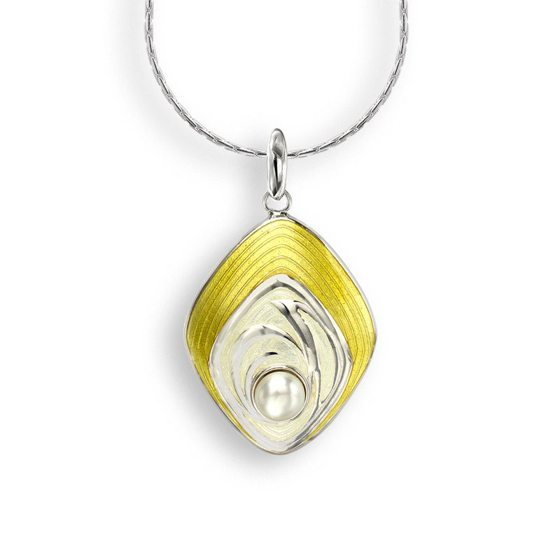 Nicole Barr Designs Yellow Diamond-Shaped Necklace.Sterling Silver-Freshwater Pearl