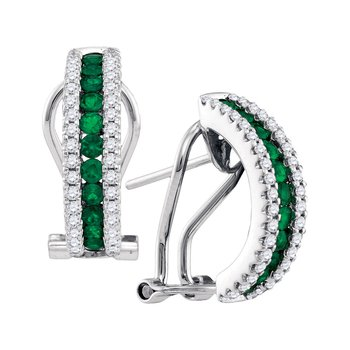 14kt White Gold Womens Round Emerald Diamond Striped French-clip Hoop Earrings 5/8 Cttw