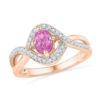 10kt Rose Gold Womens Oval Lab-Created Pink Sapphire Solitaire Twist Ring 1/2 Cttw