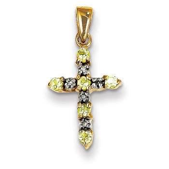14k Peridot and Diamond Cross Pendant