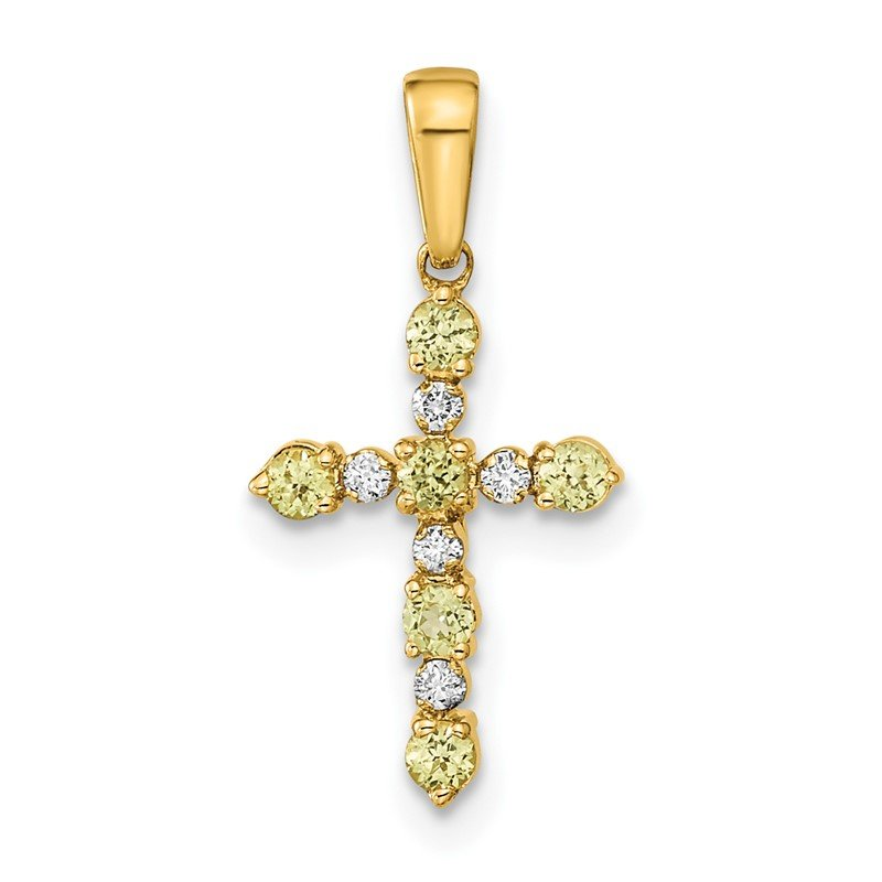 Quality Gold 14k Peridot and Diamond Cross Pendant