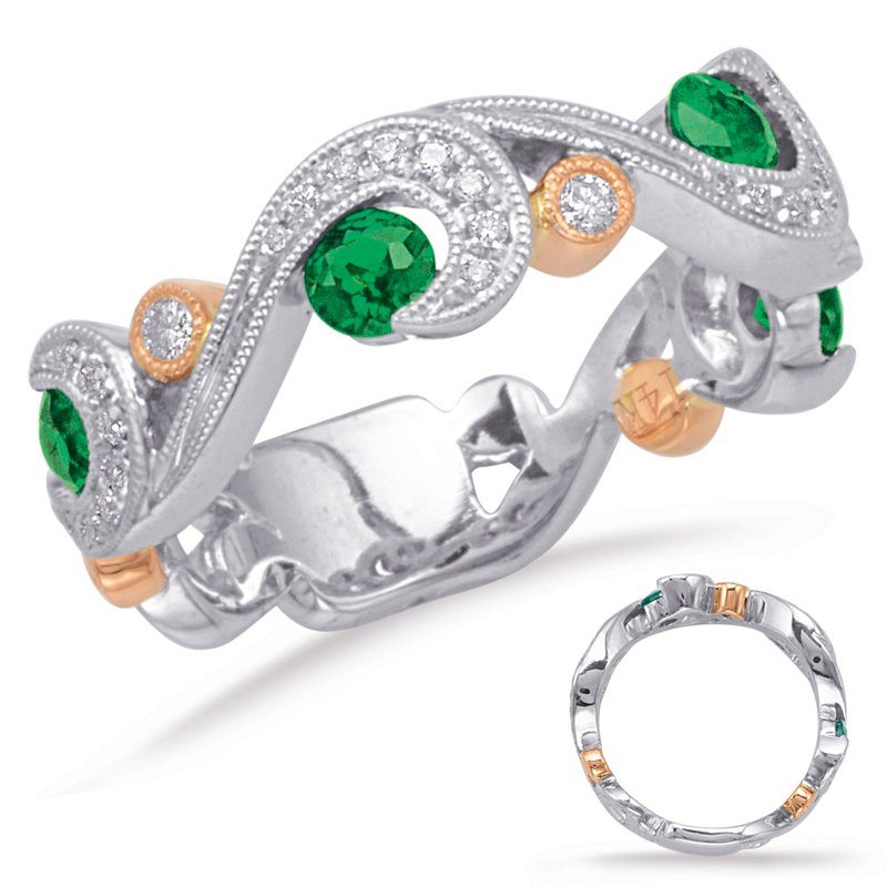 S. Kashi  & Sons Rose & White Gold Emerald & Diamond Ring